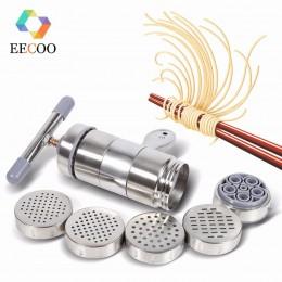 Máquina de fideos Manual con 5 moldes de prensado que hacen espagueti utensilios de cocina prensa Pasta máquina cortador de mani