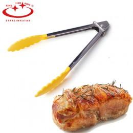 1 Uds. De Camping BBQ pinzas de nailon puntas cocina Mini Tong resistente al calor nailon pinzas de cocina acero alimentos pinza