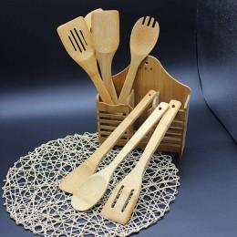 5 uds. 1 Juego de utensilios de bambú utensilios de cocina de madera utensilios de cocina cuchara espátula de mezcla alta calida