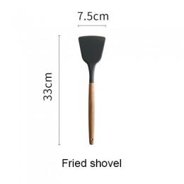 Herramientas de cocina de silicona juegos de cocina cuchara de sopa espátula pala antiadherente con mango de madera diseño espec