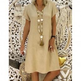 SAGACE 2019 mujeres verano estilo Feminino Vestido camiseta algodón Casual talla grande se?oras Vestido Casual Vestido de lino V