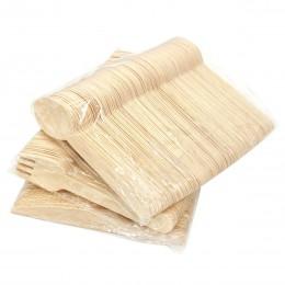 100/150/200 Uds. Tenedores de madera cucharas cortadores juego de cubiertos de madera desechables vajilla para la cena barbacoa