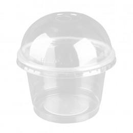 25 uds. 250ml taza de ensalada desechable de plástico transparente recipiente de postre de helado con tapa para Bar Café hogar