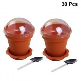 30/20/10 Uds. Maceta de pastel tazas desechables con tapa pala cuchara inferior vaso de plástico para yogur contenedor para post