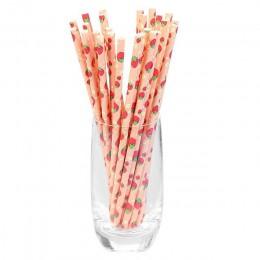 25 uds creativo respetuosos con el medio ambiente beber de paja de papel patrón colección de postre horneado de paja para fiesta