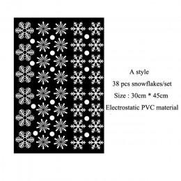 38 unids/lote copo de nieve pegatina electrostática ventana habitación de los niños pegatinas de pared de Navidad calcomanías pa