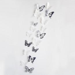 18 pzs pegatina de pared de mariposa de cristal 3D, pegatina artística, decoración para el hogar de pegatinas para la pared, peg