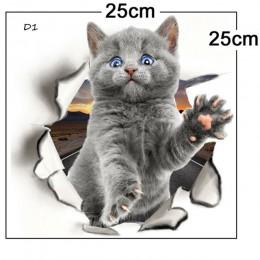 Adhesivo de gato para pared con dibujos animados de varios animales lindos del gatito 3D vívidos decoraciones de baño de la habi