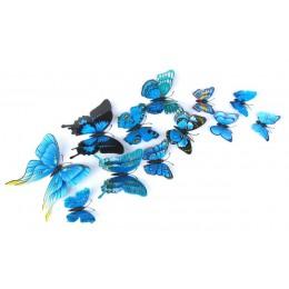 12 unids/set Multicolor doble capa 3D mariposa pared pegatina imán PVC mariposas fiesta niños dormitorio nevera decoración 10 co