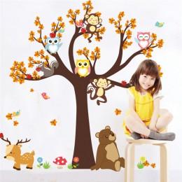 Dibujos Animados bosque rama Animal búho mono oso ciervo pegatinas de pared para niños habitaciones niños niñas niños dormitorio