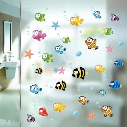 Pez estrella de mar bajo el agua etiqueta para pared de burbuja para niños habitaciones dibujos animados cuarto de baño niños ha
