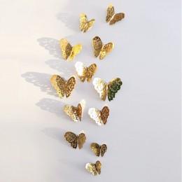 12 Uds 3D mariposa hueco pared pegatina para decoración del hogar DIY mariposas nevera adhesivos decoración de dormitorio fiesta