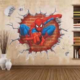 45*50cm caliente agujero 3d famosa película de dibujos animados spiderman pegatinas de pared para niños habitaciones chicos rega