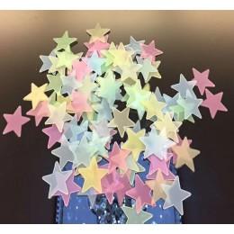 50 Uds estrellas 3D que brillan en la oscuridad pegatinas de pared luminosas fluorescentes pegatinas de pared para niños habitac