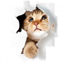Caliente 3D lindo gatito pegatina de inodoro de la pared de dormitorio de los cabritos Deocration gato de dibujos animados never