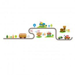 Pegatinas de dibujos animados de coches de carretera para las paredes de los niños pegatinas de habitación de juegos para niños