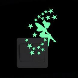 Pegatina de conmutador luminosa de dibujos animados que brilla en la oscuridad pegatinas de pared decoración del hogar niños hab