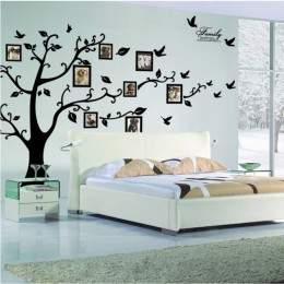 Envío Gratis: grande 200*250 Cm/79 * 99in negro 3D DIY Árbol de la foto PVC calcomanías de pared/adhesivos de la familia Mural a