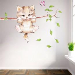 Lindo gato árbol pared pegatinas para habitaciones de niños, decoración de la casa de dibujos animados de animales de la pared c