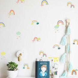 Tofok 18/24 uds/set de pegatinas de pared de arco iris de dibujos animados transparente PVC para habitación de los niños pegatin
