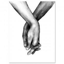 Póster nórdico blanco y negro con las manos en lienzo impresiones de amante cita cuadros de pared para la decoración minimalista