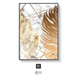 Plantas nórdicas hoja dorada lienzo pintura pósteres y cuadros de arte de pared para sala de estar dormitorio comedor decoración