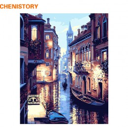 Paisaje de Venecia de noche sin marco DIY pintura al óleo Digital por números Europa lienzo abstracto pintura para el arte de la