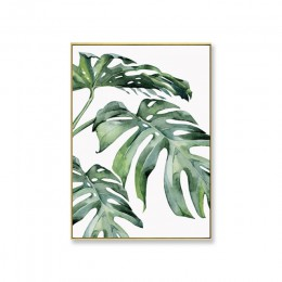 Acuarela hojas pared arte lienzo pintura planta de estilo verde carteles nórdicos e impresiones imagen decorativa decoración mod