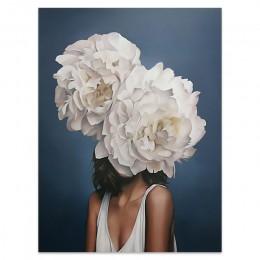 Flores plumas mujer lienzo abstracto pintura impresiones artísticas para colgar en pared cuadro pintura decorativa sala de estar