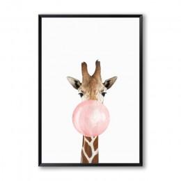 Burbuja de goma de mascar jirafa cebra Animal pósters lienzo artístico pintura pared arte cuadro decorativo para dormitorio infa