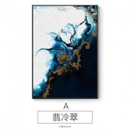 Nórdico abstracto color spalsh azul dorado lienzo pintura póster e impresión decoración única pared arte cuadros para sala de es