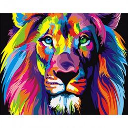 Sin marco colorido león animales abstracta paintng by números pared del arte moderno foto de pintura digital de diy para el hoga