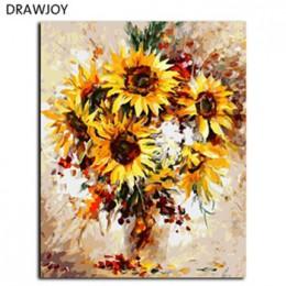 DRAWJOY cuadros enmarcados DIY pintura por números arte de pared pinturas acrílicas decoración para el hogar pintada a mano para