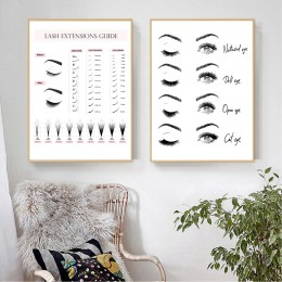 Extensiones de pestañas guía de técnico Posters e impresiones de maquillaje pared arte decoración de imágenes pestañas forma de