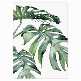 Estilo escandinavo plantas tropicales cartel verde hojas decorativo moderno imagen pared arte cuadros para la sala de Decoración