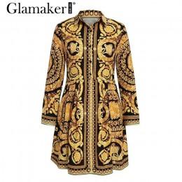 Glamaker Sexy paisley vintage estampado oro Vestido Mujer cuello en v corto blusa vestido otoño elegante Fiesta club vestido tal