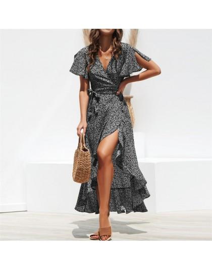 Verano playa Maxi Vestido Mujer Floral estampado Boho largo vestido de gasa volantes envoltura Casual cuello en V Split Sexy ves