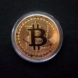 Chapado en oro física Bitcoins casascio Bit Coin BTC con caja regalo físico Metal imitación antigua colección de arte de monedas
