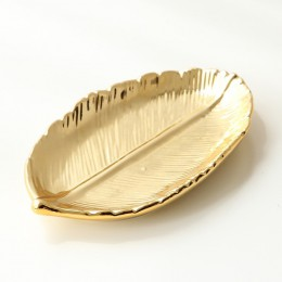 Gloden platos con forma de hoja de árbol joyería de hoja bandeja de postre aperitivos almacenamiento plateados Rosa oro cerámica