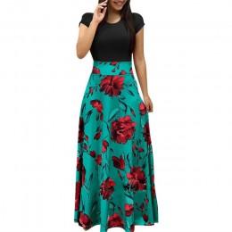 Impresión Floral Vintage Patchwork vestido largo mujer 2019 Casual de manga corta vestido de fiesta elegante cuello en O Damas M