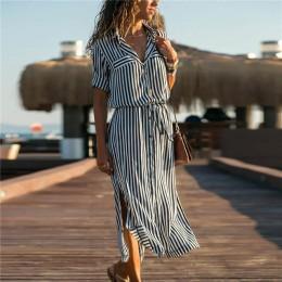 2019 cuello vuelto Oficina señoras vestido Camisa de rayas largo Boho playa vestido Casual manga larga elegante vestido de fiest