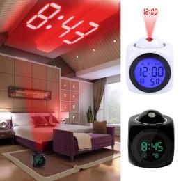Reloj de Proyección multifunción Led colorido retroiluminación despertador electrónico Informe de voz con termómetro repetición