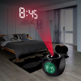 Nueva moda Proyección de atención Digital tiempo LCD Snooze proyector de reloj despertador Color pantalla LED retroiluminación t