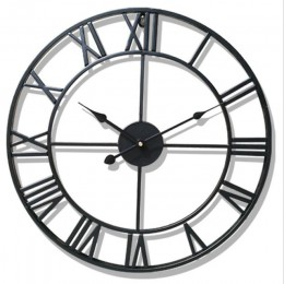 Nuevo 3D Circular Retro romano 47cm hierro forjado hueco Vintage gran silencio decorativo Reloj de pared en la pared decoración