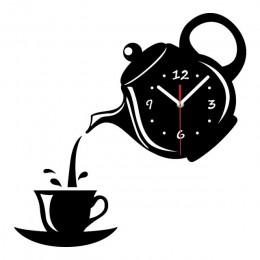 Creativa taza de acrílico para café tetera 3D Reloj de pared decorativo de cocina Relojes de pared sala de estar comedor hogar D