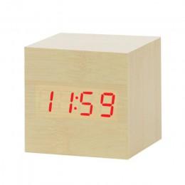 Reloj Despertador de madera LED, mesa de Control de voz, Despertador Digital de madera, escritorio electrónico, relojes con alim
