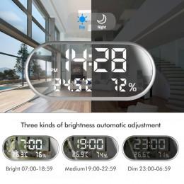Reloj despertador Digital portátil espejo HD pantalla LED con función de tiempo/humedad/temperatura/pantalla puerto USB de carga