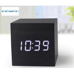 Reloj despertador LED de madera, despertador Control de temperatura, pantalla LED, relojes de mesa digitales de escritorio elect