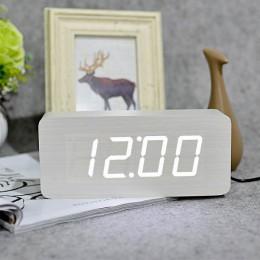 JINSUN relojes digitales LED Despertador de madera cuadrado moderno colorido reloj Despertador con Sensor de escritorio de Contr