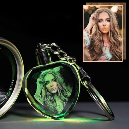 Álbum de fotos de cristal de imagen de diseño personalizado con iluminación LED de Color cambiante con láser octogonal grabado á